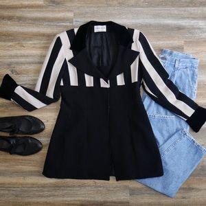 Annie Reva • vtg cream & black blazer
